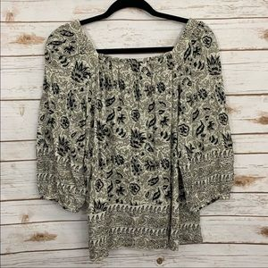 Lucky Brand Printed Peasant Boho Blouse Top